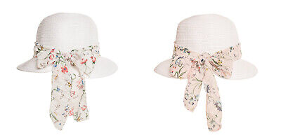 Floral Straw Hat (Women's/Ladies Cloche Straw Hat With Floral Band in 2 Colours - One Size)