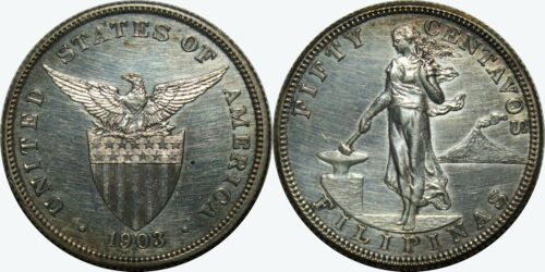1903 US/Philippines 50 Centavos PROOF ~ AU/UNC Details/Impaired ~ Silver ~ MX424