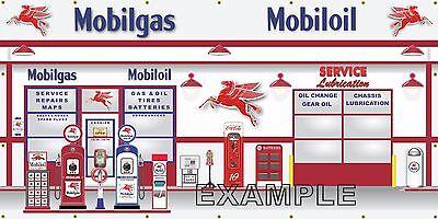 MOBIL GAS STATION SCENE PEGASUS WALL MURAL SIGN BANNER HUGE GARAGE ART 5' X 10'