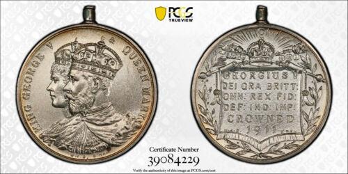 1911 Great Britain Coronation Silver Medal Birmingham George V Mary PCGS MS64 BU