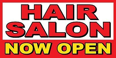 Hair Salon Now Open Banner Sign - Sizes 24 48 72 96 120