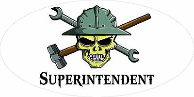 3 - Superintendent Skull Oilfield Roughneck Hard Hat Helmet Sticker H311