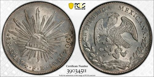 Silver 1874/3 Go FR Mexico 8 Reales | PCGS MS63