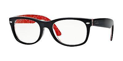 Ray-ban Neu Wayfarer RX5184 2479 52mm Top Schwarz auf Textur Rot Brille