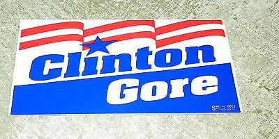 BILL CLINTON & AL GORE ORIGINAL 1992 VINTAGE CAMPAIGN WINDOW BUMPER STICKER