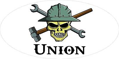 3 - Union Skull Oilfield Roughneck Hard Hat Helmet Sticker H306