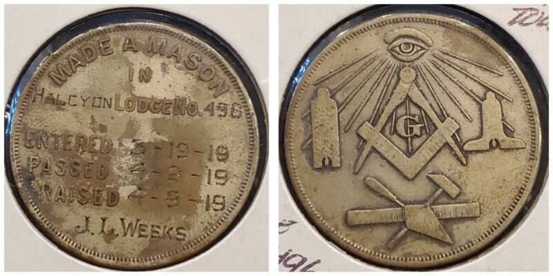 1919 MADE A MASON Medal, Token Coin, Halcyon Lodge No 496 J.I. Weeks