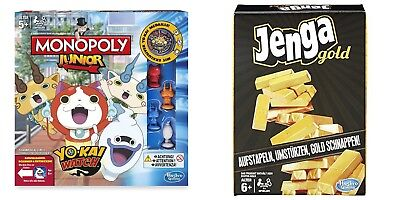 HASBRO Spiele MONOPOLY JUNIOR YO-KAI WATCH + JENGA GOLD Sammlung PAKET Neu