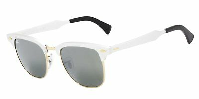 Ray Ban Clubmaster Aluminum RB3507 137/40 Brushed Silver w/Gren Silv Mirror (Aluminum Clubmaster Glasses)
