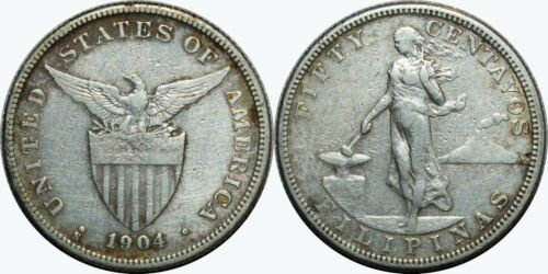 1904-S US/Philippines 50 Centavos ~ F Details ~ 90% Silver ~ A#13.03 ~ MX426