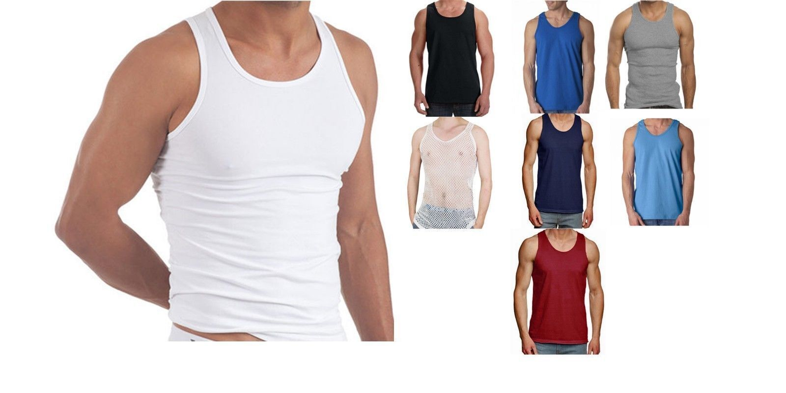 MENS VEST 100% COTTON GYM TRAINING TANK TOP T SHIRT MESH SLEEVELESS SUMMER UK