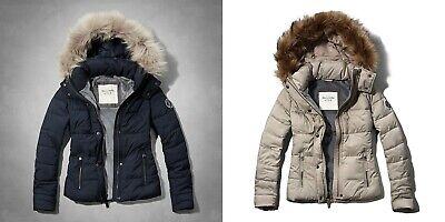 Abercrombie & Fitch Women Faux Fur Hooded Puffer Jacket Coat - NWT
