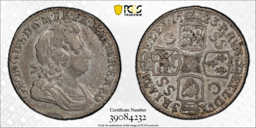 1723 Great Britain Shilling KM# 539.3 George I First Bust SSC PCGS AU-50