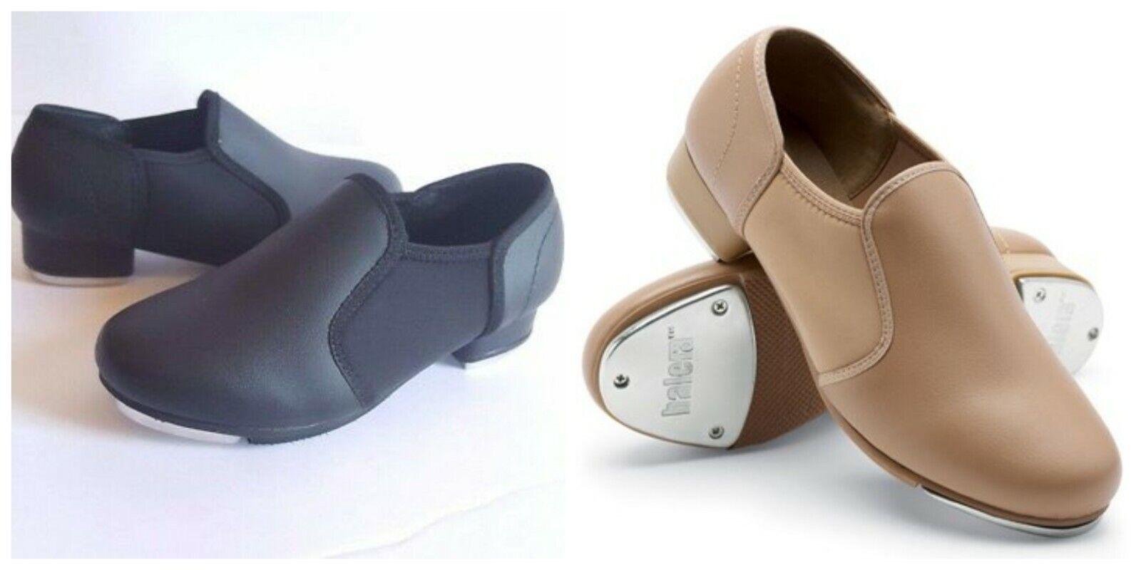 NEW Weissman's Balera Slip on Black and Caramel Tap Shoes Child & Adult Size