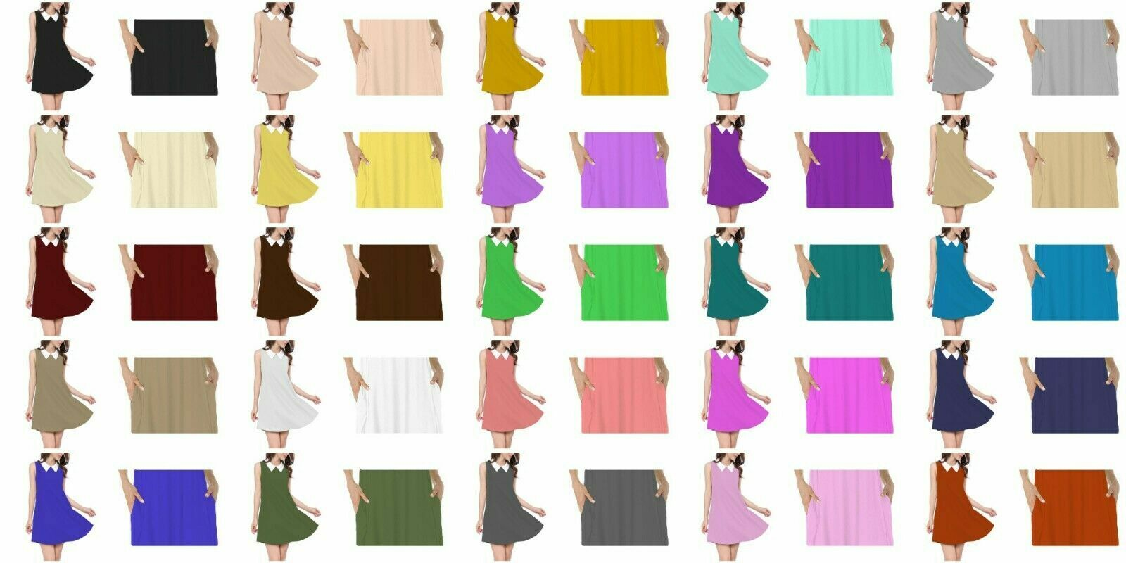 Papaval KCSSD Kids Girls Sleeveless Plain Casual Loose Skater Swing Dress