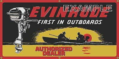 EVINRUDE OUTBOARD BOAT MOTORS MARINE DEALER OLD SIGN REMAKE BANNER ART 2' X  4'