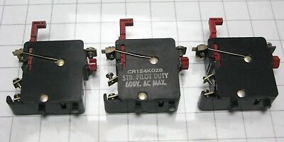 3 General Electric CR124K028 Single Pole Overload Relay size 1 GE CR124 K028 ()