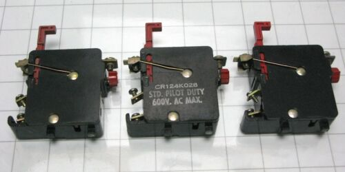 3 General Electric CR124K028 Single Pole Overload Relay size 1 GE CR124 K028