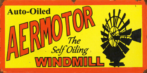 AERMOTOR WINDMILL ADVERTISING METAL SIGN