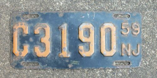 1959 New Jersey Motorcycle License Plate ~ FREE shipping