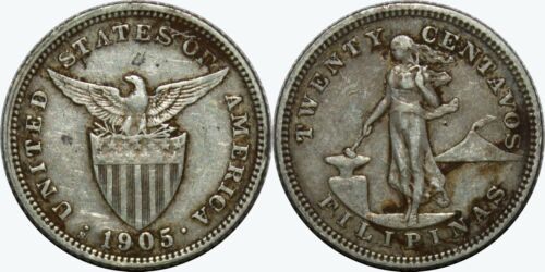 1905-S US/Philippines 20 Centavos ~ VF Details ~ 90% Silver ~ MX307