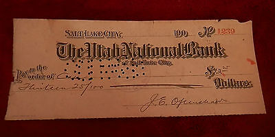 1908 Slc Utah State National Bank Check No 1239 22Nd Ward Co Op Lds Mormon