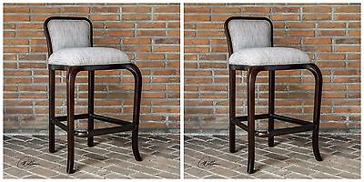 PAIR MAHOGANY WOOD LIGHT CLAY WEAVE FABRIC BAR PUB STOOL VINTAGE MODERN STYLE