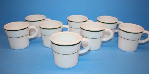 Vintage Corning Glass Blower Green Stripe Mugs - Set of 8
