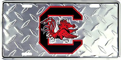 South Carolina Gamecocks Embossed Diamond Metal Auto Tag License Plate Sign ()