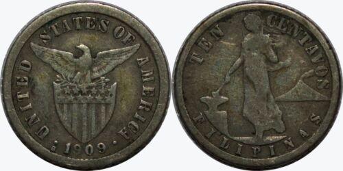 1909-S US/Philippines 10 Centavos ~ F ~ Allen#8.05 ~ 75% Silver ~ MX367