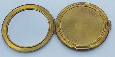Antique Brass KIGU Mirror Powder Gold Tone Vanity Compact Made in England