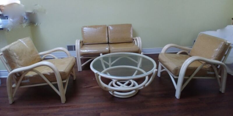 Vintage Rattan Bamboo Patio Furniture set - good condition