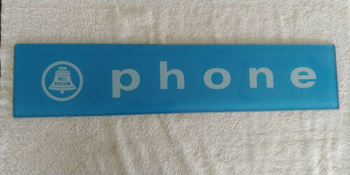 Blue Payphone Telephone Glass Sign