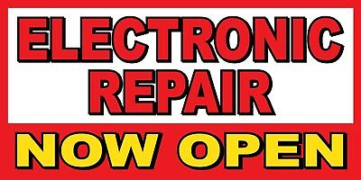 Electronic Repair Now Open Banner Sign - Sizes 24 48 72 96 120