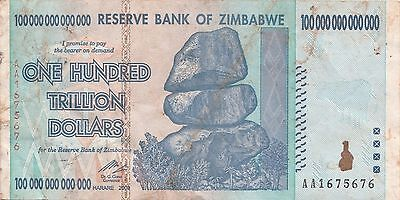 Zimbabwe 100 Trillion Dollars CIRCULATED AA/2008