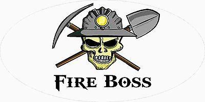 3 - Fire Boss Miner Skull Coal Mining Tool Box Hard Hat Helmet Sticker Wv H403