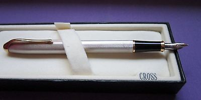 CROSS  PINNACLE STERLING SILVER FOUNTAIN PEN F PT NEW IN BOX MADE IN USA