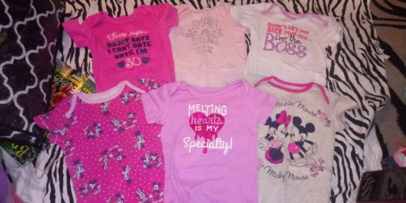 Baby Girl Infant Toddler Lot Of 6 Minnie Mouse Bodysuit Jumpers Size 24 Months