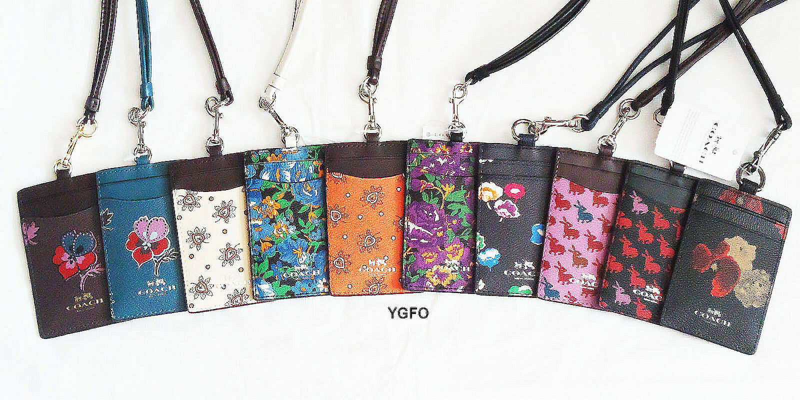 Coach Id Lanyard Badge Holder Card Pass Case Rabbit Flora...