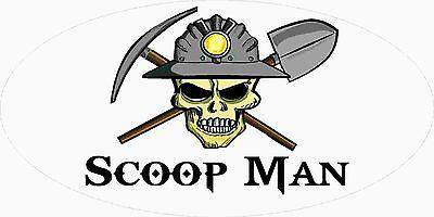 3 - Scoop Man Miner Skull Coal Mining Tool Box Hard Hat Helmet Sticker Wv H409
