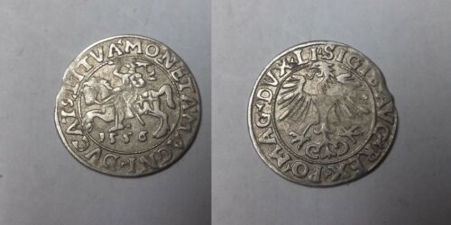 1556 Lithuania- Silver 1/2 Grosz- Armored Knight - 450 years old Nice #2