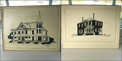 2 Mid Century Pen Ink Drawings GEORGIAN VICTORIAN Houses Signed Dermody 1950s - $24.95