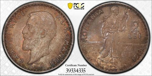 PCGS MS-64 ROMANIA SILVER 2 LEI 1911 (DEEP TONING!) ONLY TWO GRADED HIGHER!
