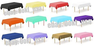 Color Rectangle Plastic Disposable Tablecloth Cover Wedding Party Decor Birthday