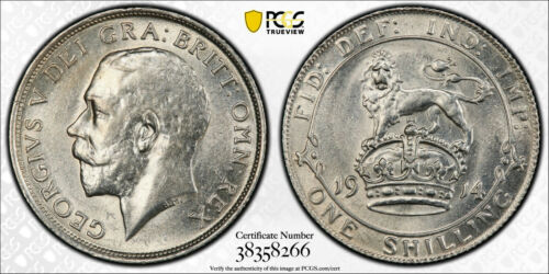 1914 Great Britain Shilling KM# 816 PCGS MS-62 Uncirculated silver coin George V