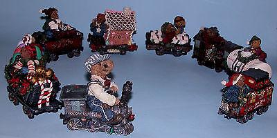 Boyds Bears 9 pc. train set Casey engineer, coalcar, Boxcar, Caboose, asst cars