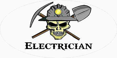 3 - Electrician Miner Skull Mining Tool Box Hard Hat Helmet Sticker Wv H402