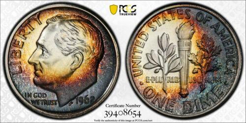 1962 PROOF ROOSEVELT DIME 10C PCGS CERT PR 67 UNC - SWEET COLOR TRUE VIEW (654)