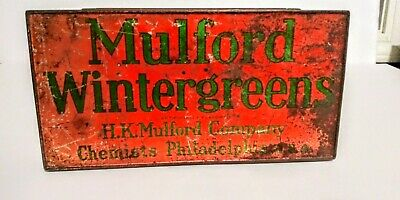 RARE Vintage Antique Mulfords Wintergreens Candy Tin Box. Philadelphia Pa.