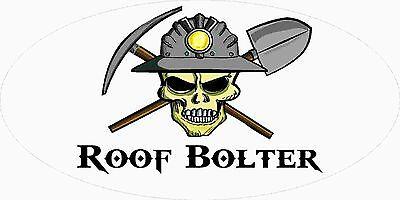 3 - Roof Bolter Miner Skull Coal Mining Tool Box Hard Hat Helmet Sticker Wv H407